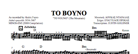 "Rembetika Sheet Music - ""To vouno"""