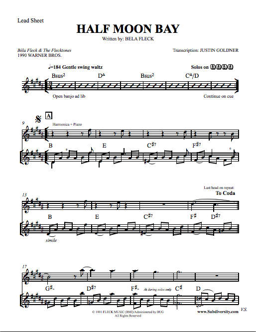 "Bela Fleck Banjo Sheet Music ""Half Moon Bay"""